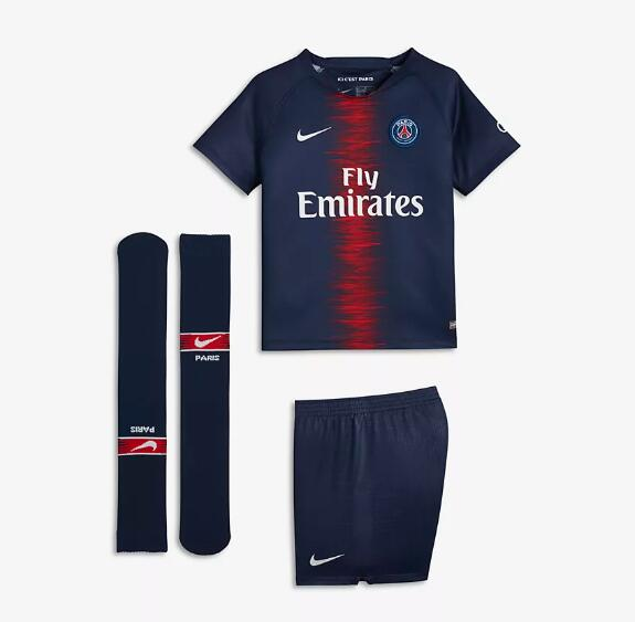 Kids PSG Soccer Jerseys 2018-19 Home Football Kits (Shirt + Shorts + Socks)